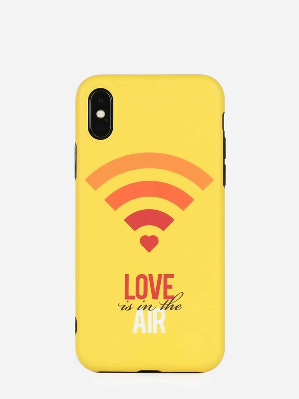 Letter & Wi-Fi Icon Pattern iPhone Case, null
