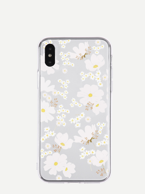 Floral Pattern Transparent iPhone Case, null