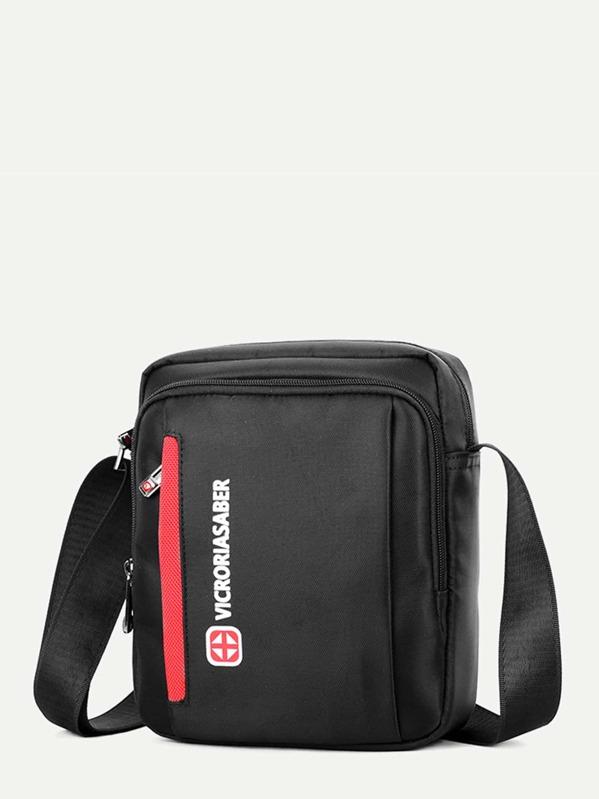 Men Square Shaped Nylon Crossbody Bag, null