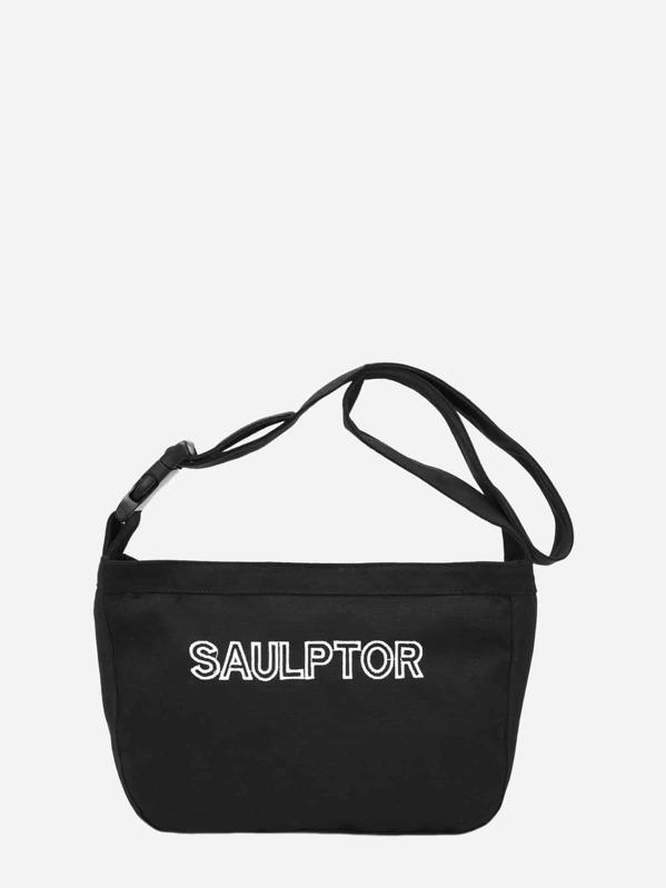 Men Letter Embroidered Crossbody Bag, null