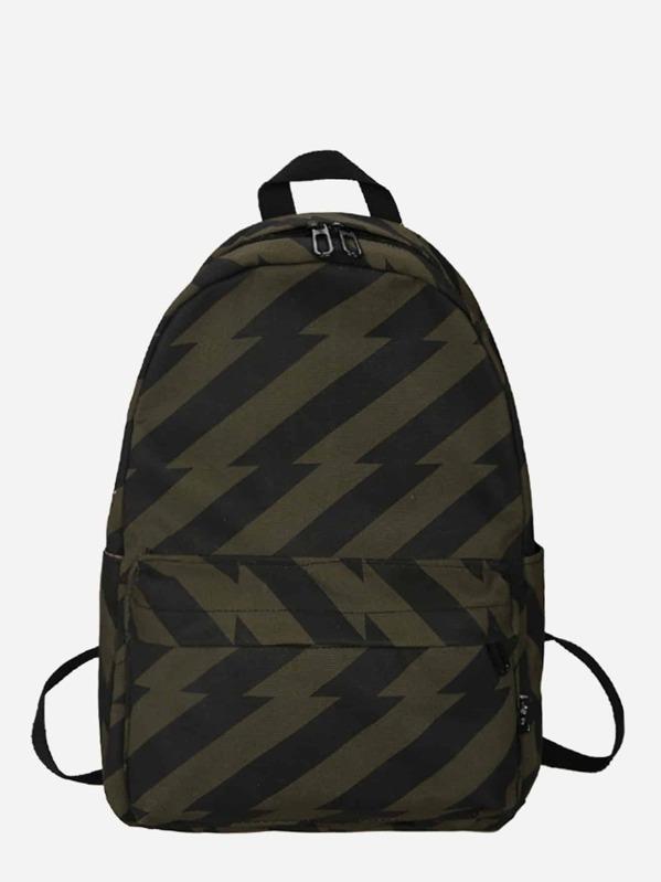 Men Pocket Front Striped Backpack, null