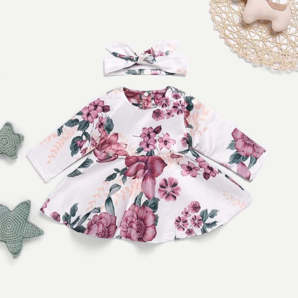 Baby Floral Print Button Back Dress With Headband
