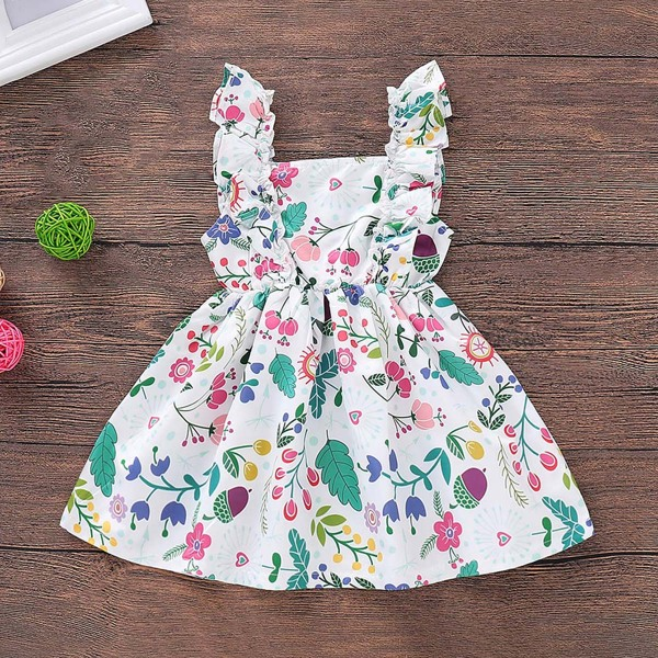 Baby Plants Print Buttoned Straps Dress