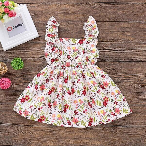 Baby Floral Print Buttoned Back Straps Dress