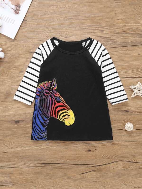 Toddler Girls Striped Raglan Sleeve Zebra Print Dress