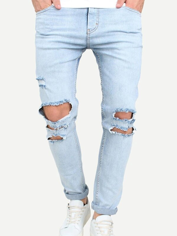 Men Destroyed Rolled Hem Jeans, null