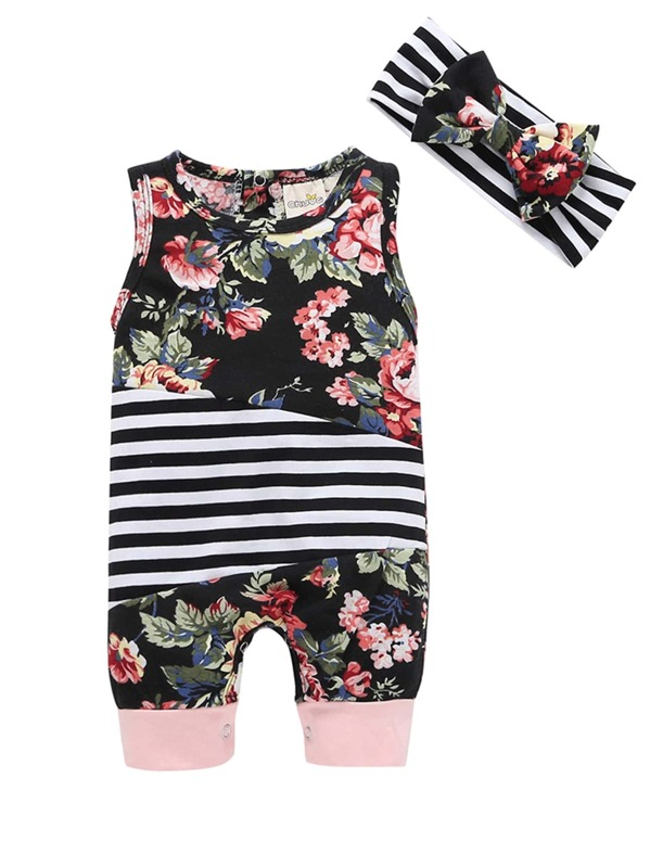 Toddler Girls Floral Print Striped Jumpsuit, null