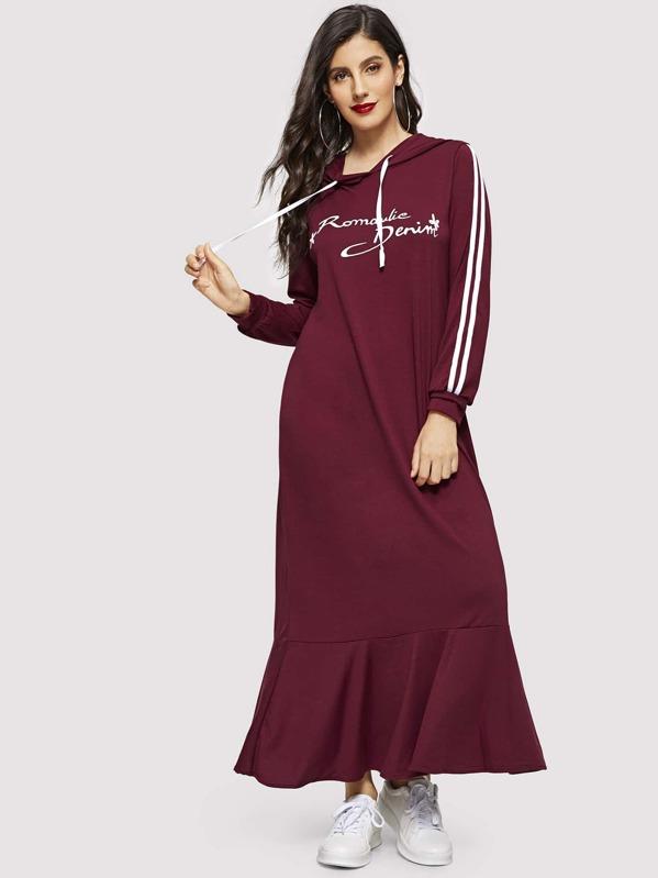 Letter Print Striped Ruffle Hem Sweatshirt Dress