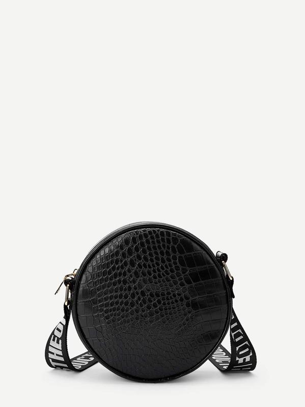 Crocodile Pattern Round Crossbody Bag