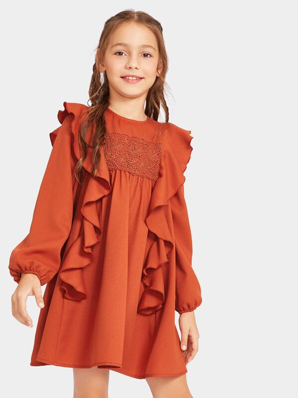 Girls Zip Back Ruffle Trim Lace Detail Dress, Alice A