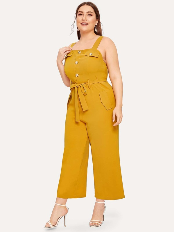 Plus Button Front Belted Cami Jumpsuit, Franziska