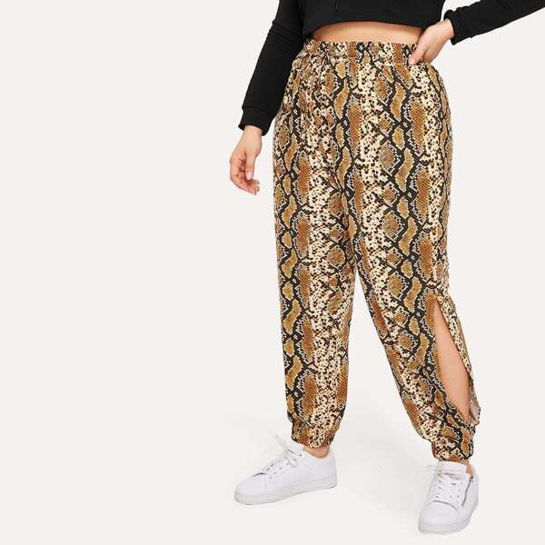 Plus Snake Print Split Side Pants
