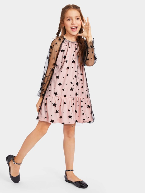 Girls Raglan Sleeve Star Mesh 2 in 1 Dress