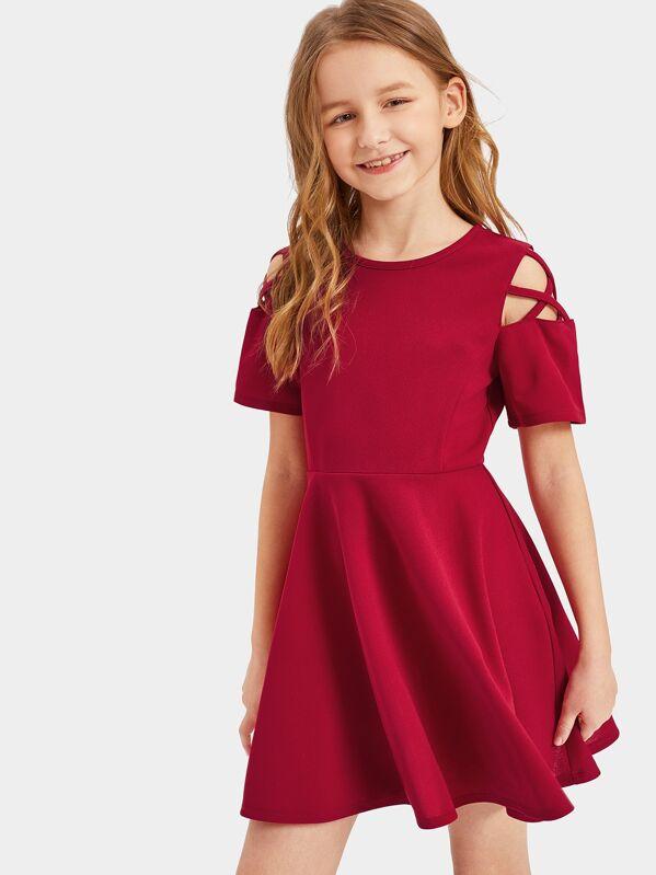 Girls Crisscross Cold Shoulder Fit & Flare Dress, Sashab