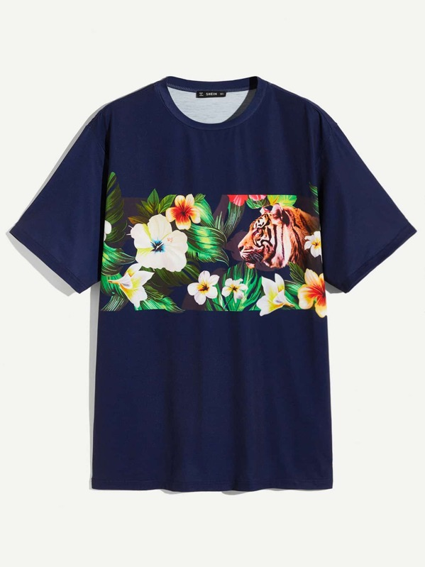 Men Floral and Tiger Print Tee