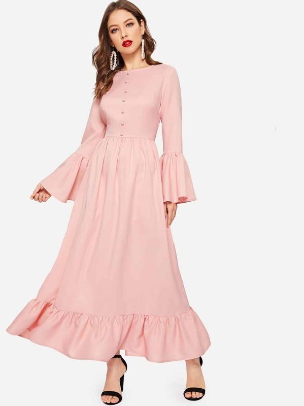 Half Placket Flounce Sleeve Ruffle Hem Dress