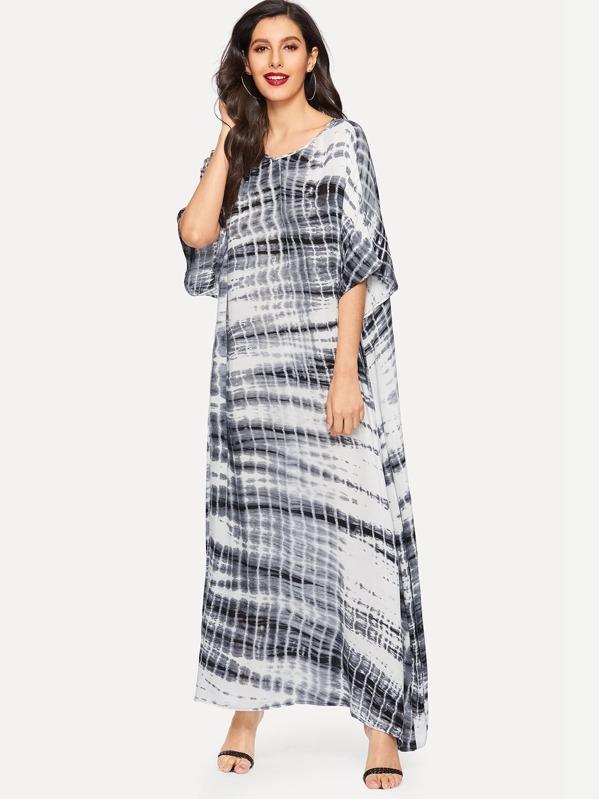 Batwing Sleeve Tie Dye Asymmetrical Hem Dress