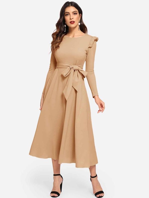 Ruffle Detail Waist Belted Solid Dress