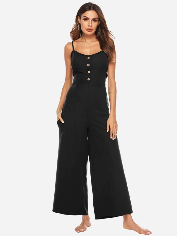 Button Front Knotted Back Wide Leg Jumpsuit, Andy