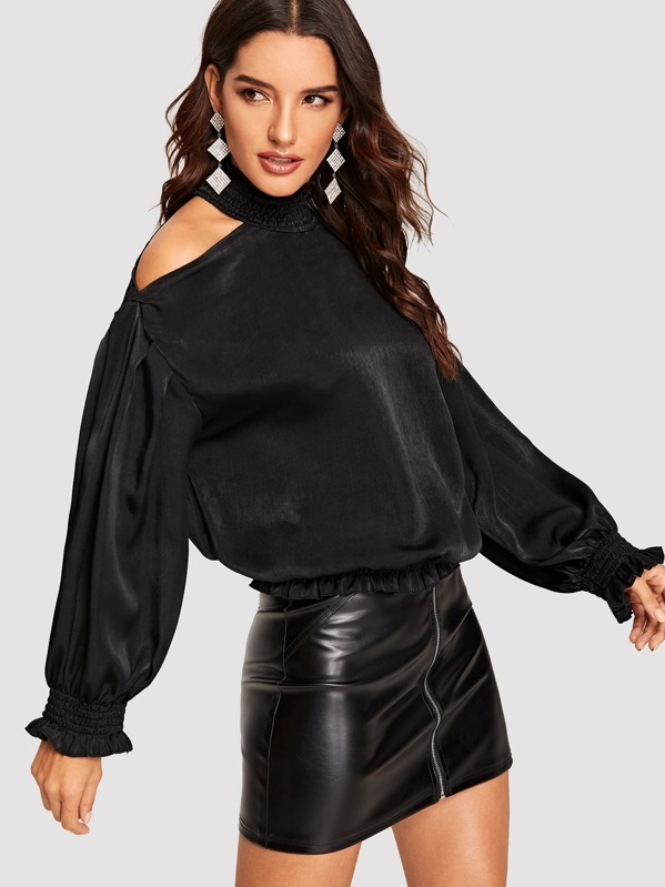Smocked Neck Cold Shoulder Lantern Sleeve Satin Top