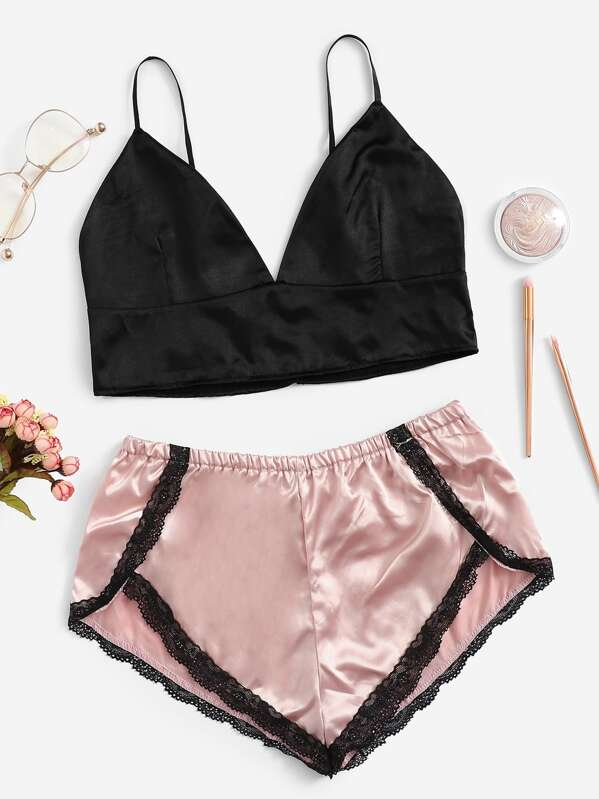 Lace Trim Satin Bralette With Shorts, null