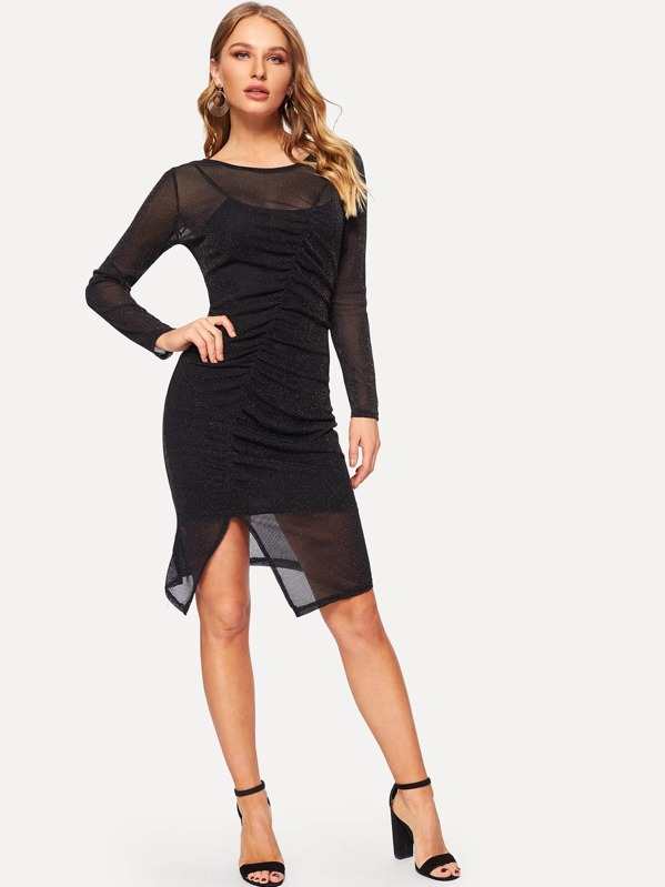 Split Hem Ruched Glitter Mesh 2 in 1 Dress