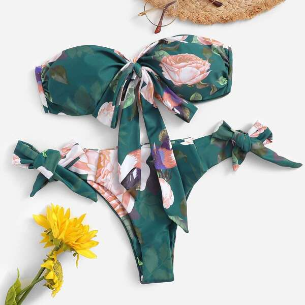 Random Floral Ruched Bandeau With Tie Side Bikini