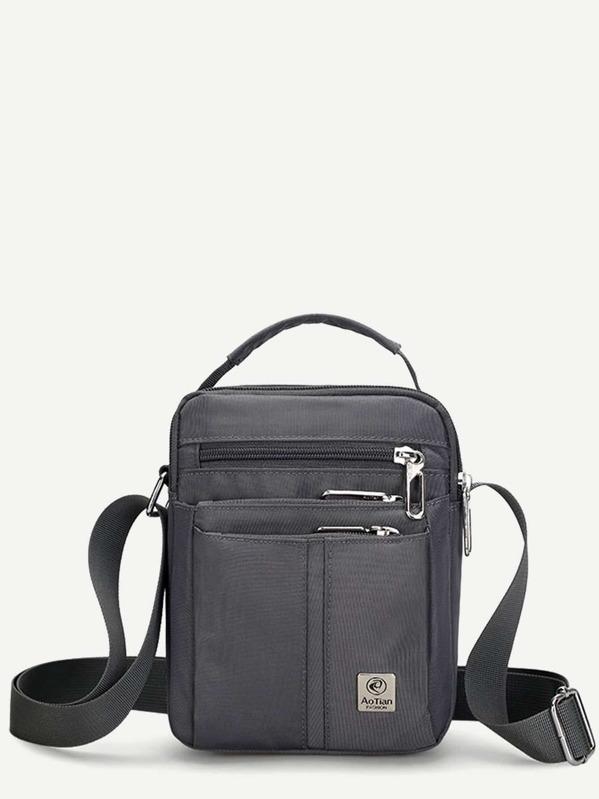 Men Zip Front Nylon Crossbody Bag