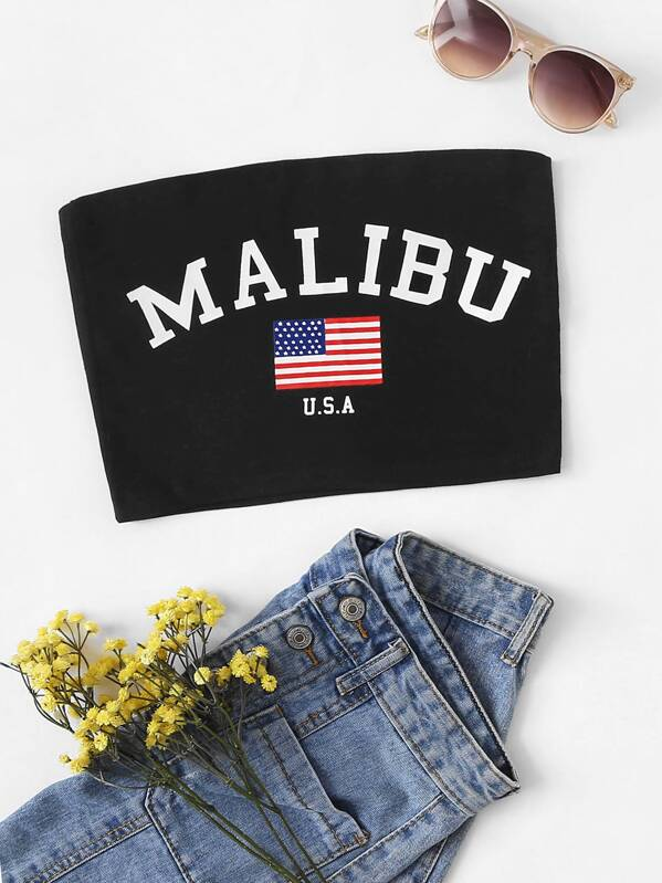Letter And Flag Print Bandeau Top, null