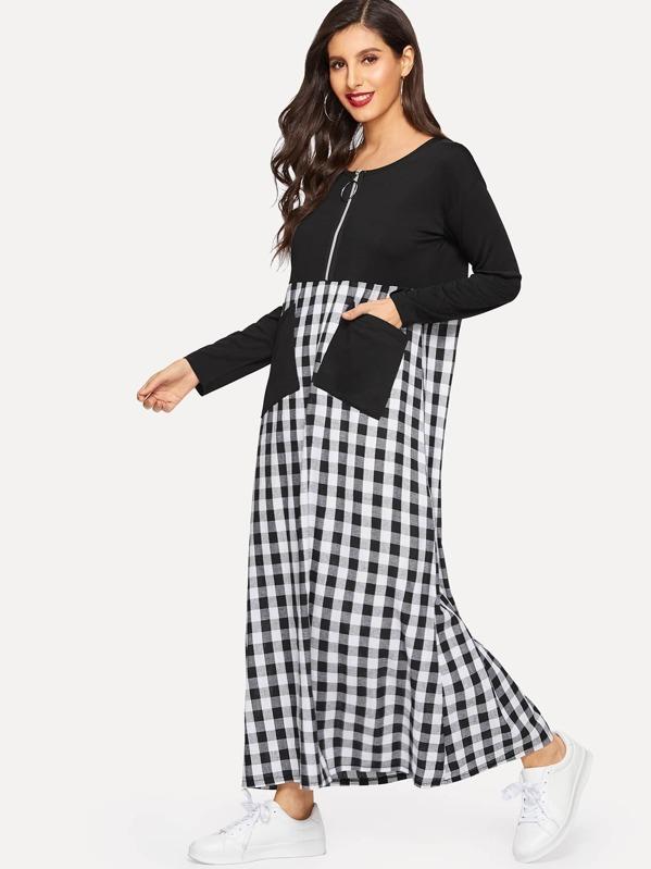 Gingham Zip Half Placket Pocket Detail Dress