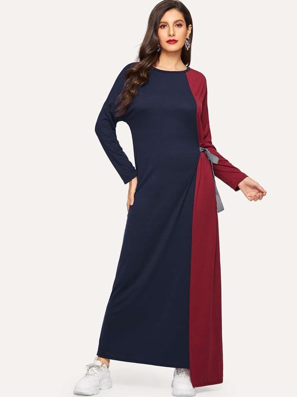 Lace Tie Side Drop Shoulder Asymmetric Hem Dress