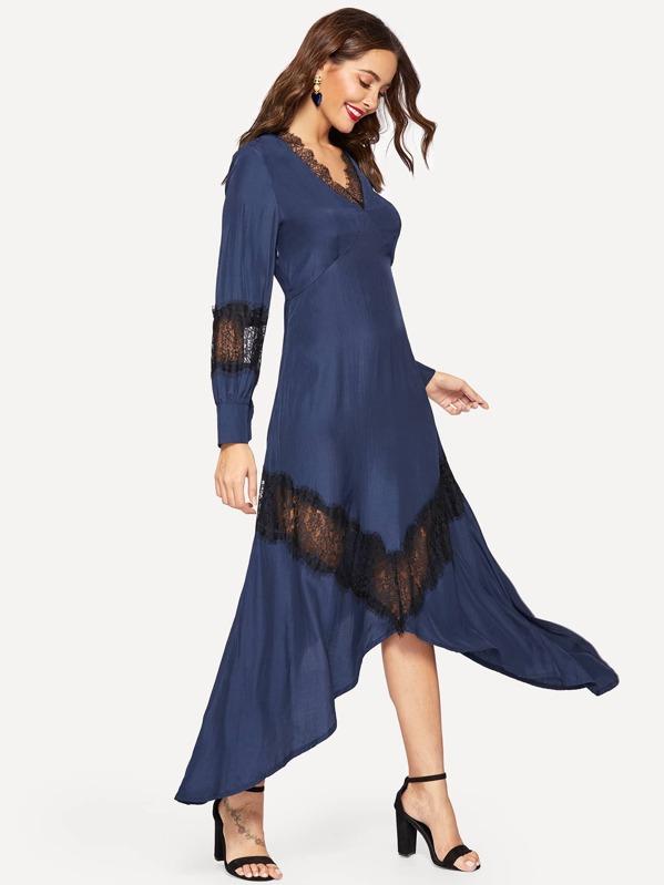 Contrast Lace Asymmetric Hem Dress