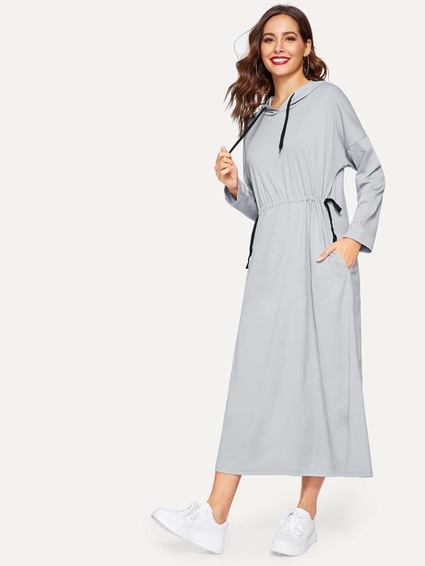 Drawstring Waist Drop Shoulder Hooded Sweatshirt Dress