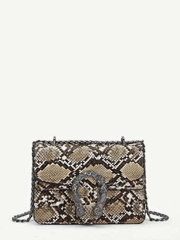 Metal Detail Snakeskin Pattern Chain Crossbody Bag