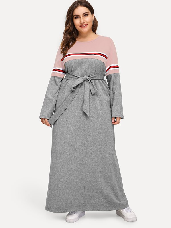 Plus Striped Tape Detail Cut-and-sew Belted Dress, Franziska