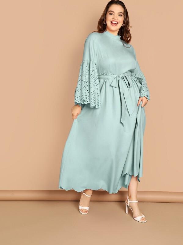 54110b10c751d Plus Scallop Edge Laser Cut Self Belted Dress, Bree Kish - shein.com ...
