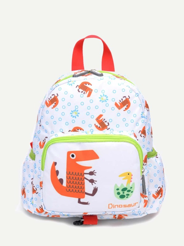Kids Cartoon Print Pocket Front Backpack, null