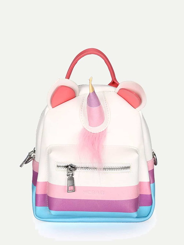 Kids Unicorn Design Pocket Front Backpack, null