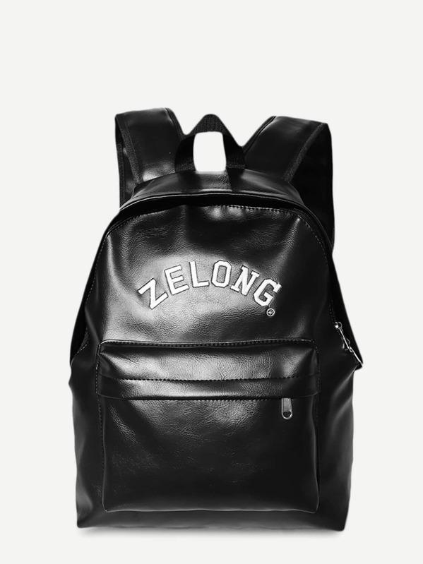 Men Pocket Front PU Backpack