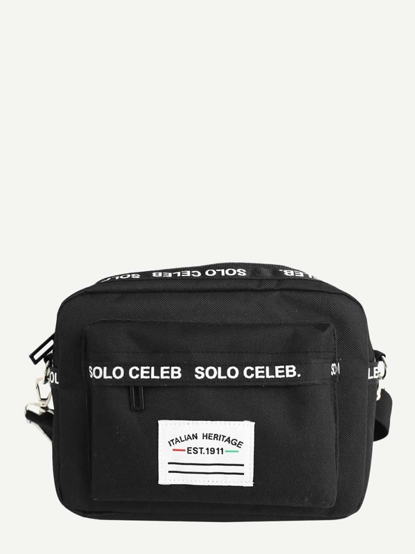 Men Patch Decor Nylon Crossbody Bag