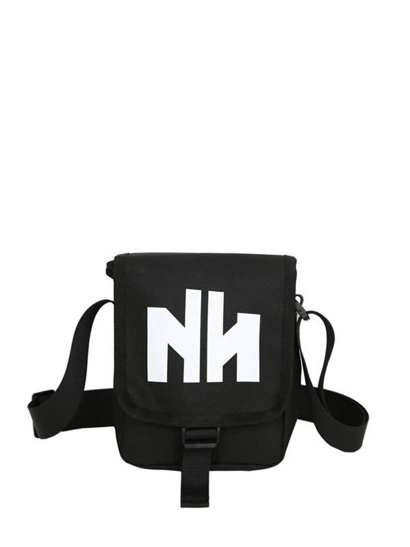 Men Letter Print Nylon Crossbody Bag