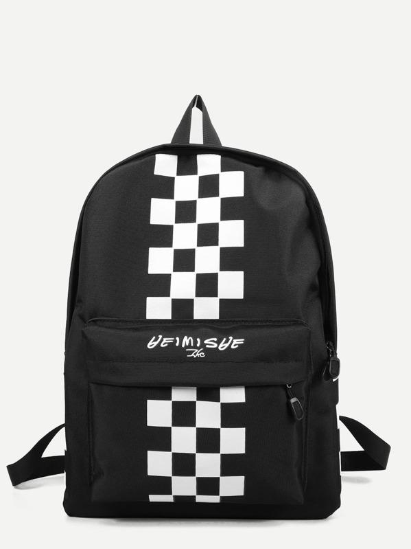 Men Checker Print Oxford Backpack