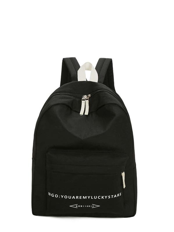 Men Slogan Print Nylon Backpack