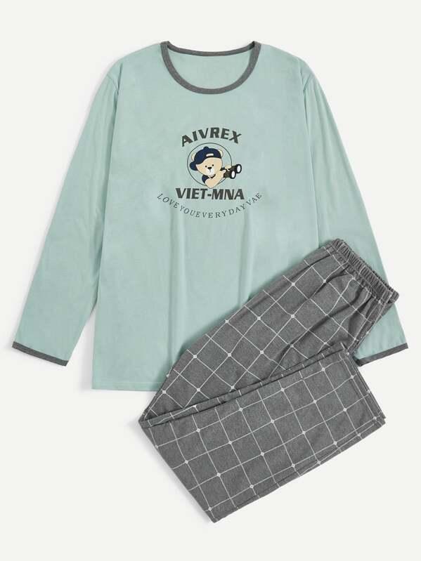 Men Bear & Letter Print Plaid Pajama Set