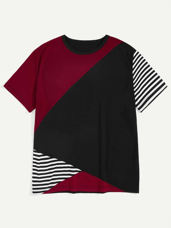 Men Cut And Sew Panel Striped Tee