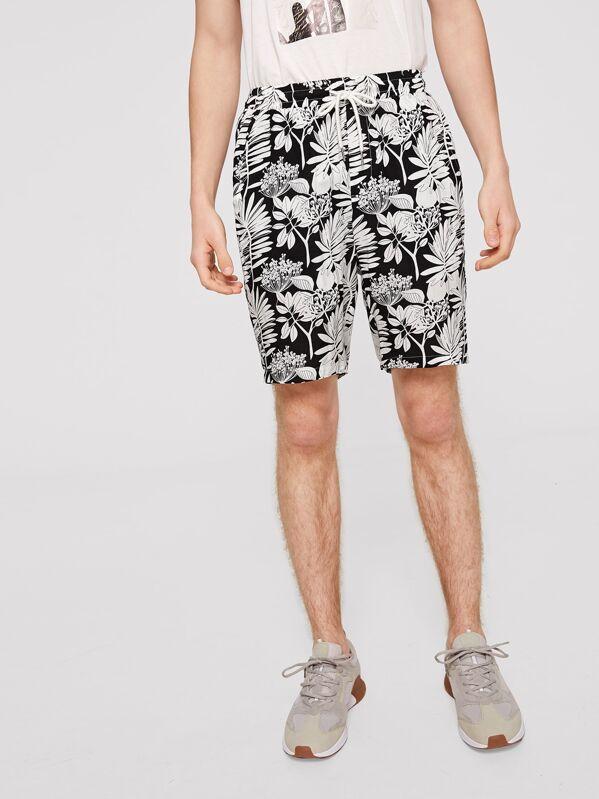 Men Botanical Print Slant Pocket Drawstring Waist Shorts