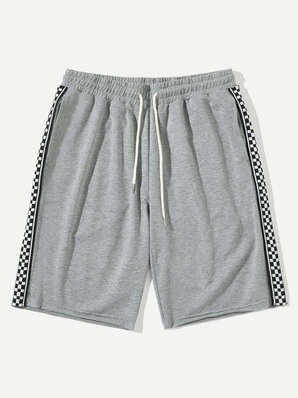 Men Checked Side Seam Heather Knit Sweat Shorts