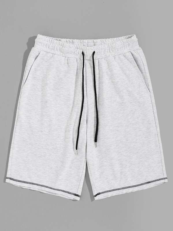 Men Contrast Stitch Heather Knit Sweat Shorts