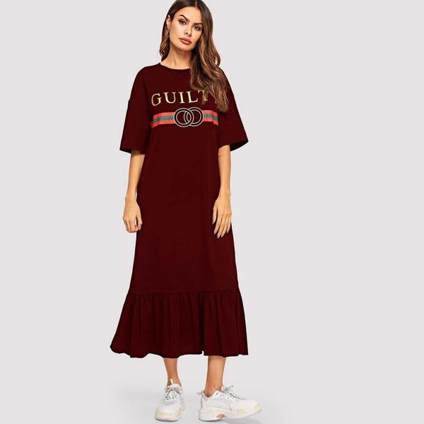 Drop Shoulder Ruffle Hem Graphic Tee Dress