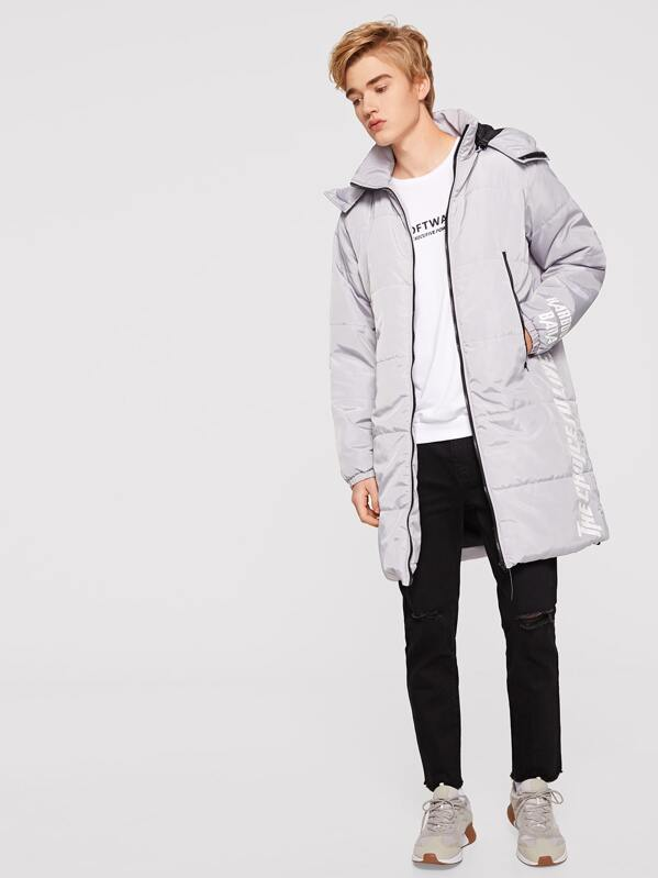 Men Letter Print Pocket Patched Puffer Hoodie Coat